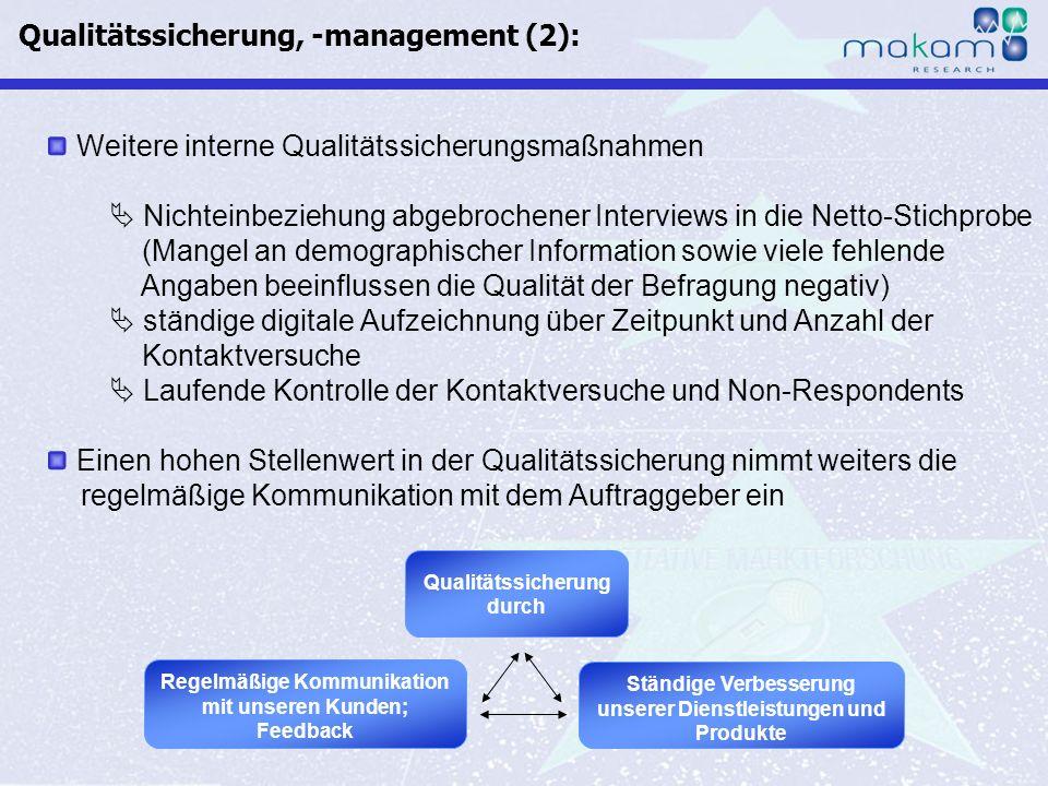 Auf Fakten setzen, auf Menschen zählen KonsumentInnen-Barometer April 2013 Auf Fakten setzen, auf Menschen zählen Seite 9 Weitere interne Qualitätssic