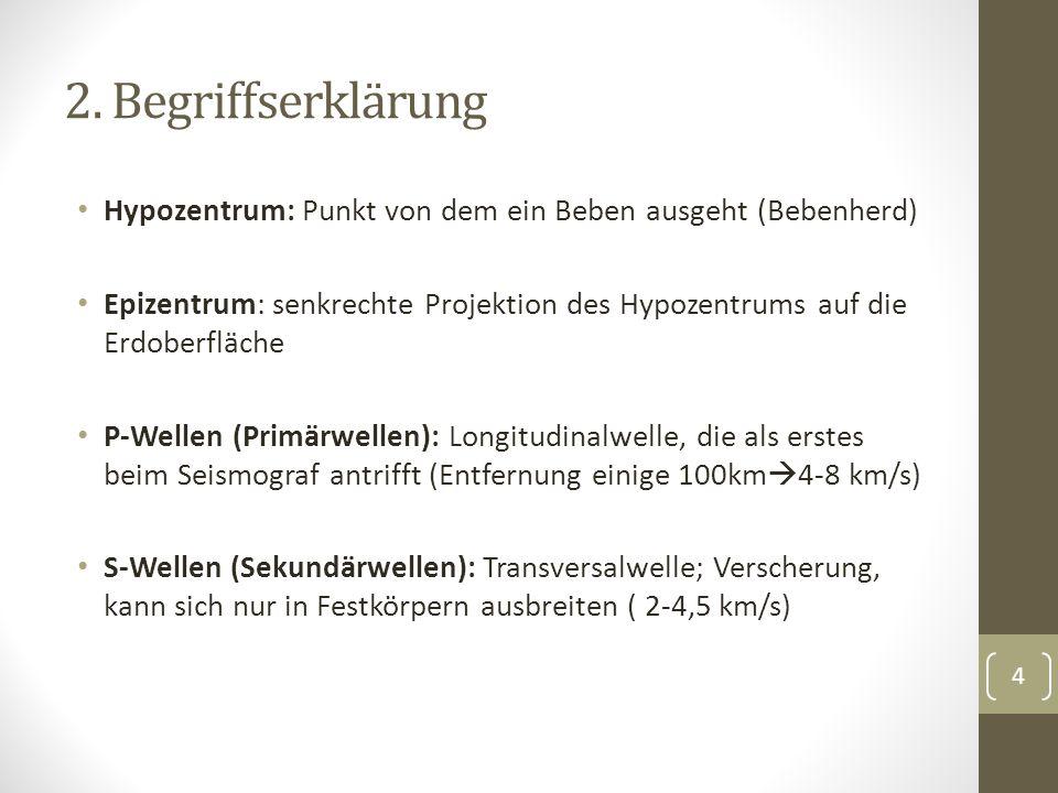 2. Begriffserklärung Hypozentrum: Punkt von dem ein Beben ausgeht (Bebenherd) Epizentrum: senkrechte Projektion des Hypozentrums auf die Erdoberfläche