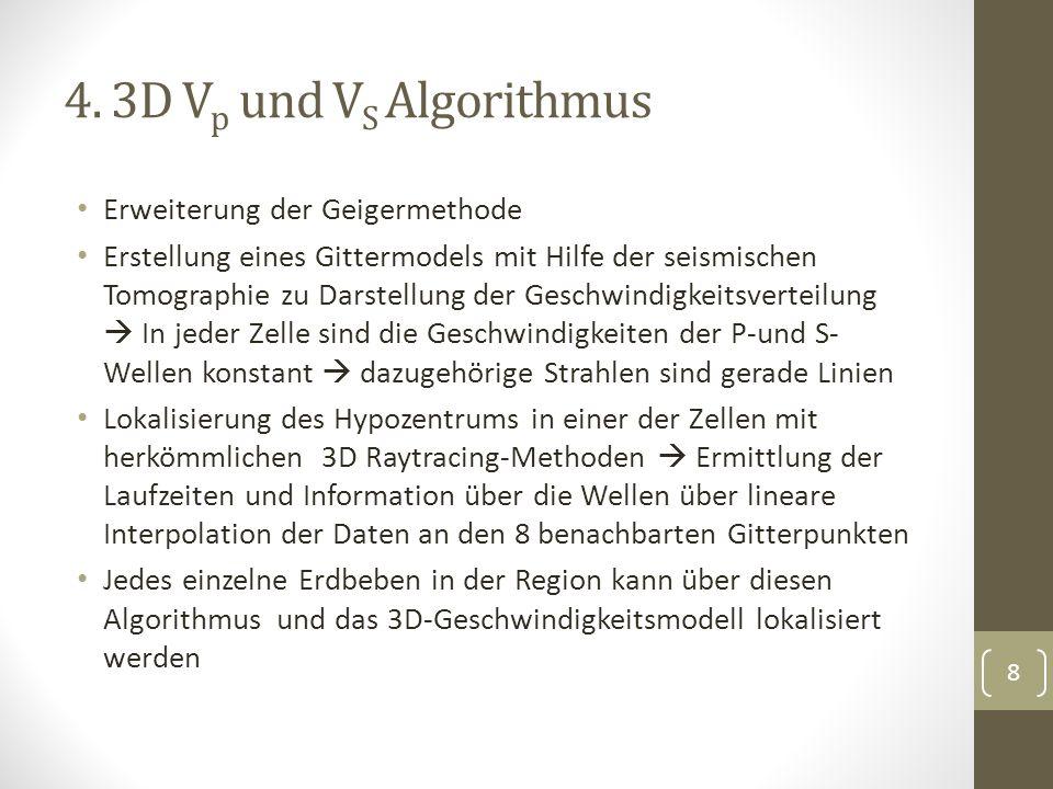 4. 3D V p und V S Algorithmus Erweiterung der Geigermethode Erstellung eines Gittermodels mit Hilfe der seismischen Tomographie zu Darstellung der Ges
