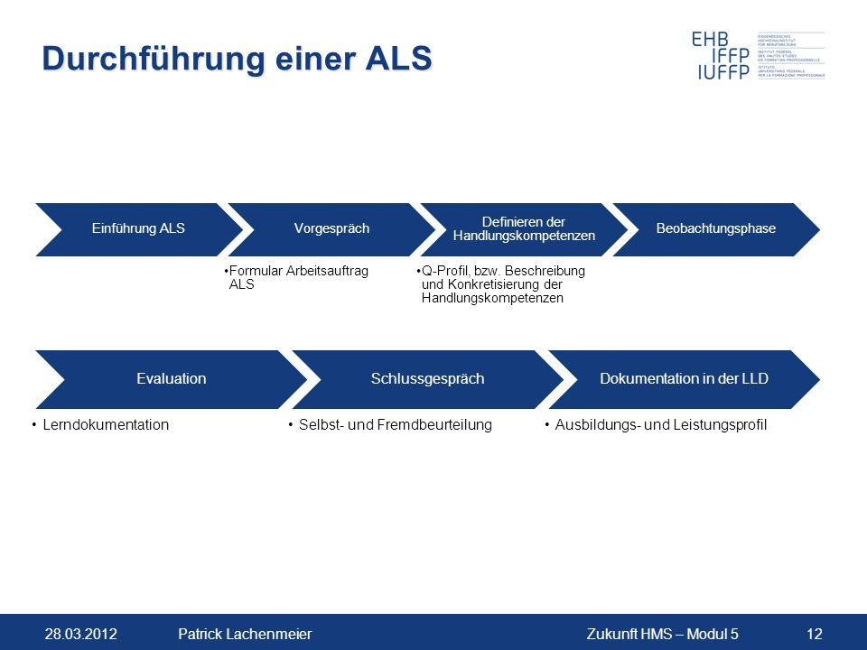 28.03.2012Zukunft HMS – Modul 512Patrick Lachenmeier Durchführung einer ALS Einführung ALSVorgespräch Formular Arbeitsauftrag ALS Definieren der Handlungskompetenzen Q-Profil, bzw.