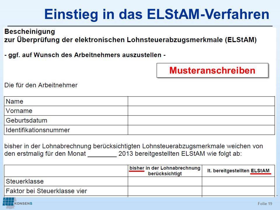 Folie 19 Einstieg in das ELStAM-Verfahren Musteranschreiben