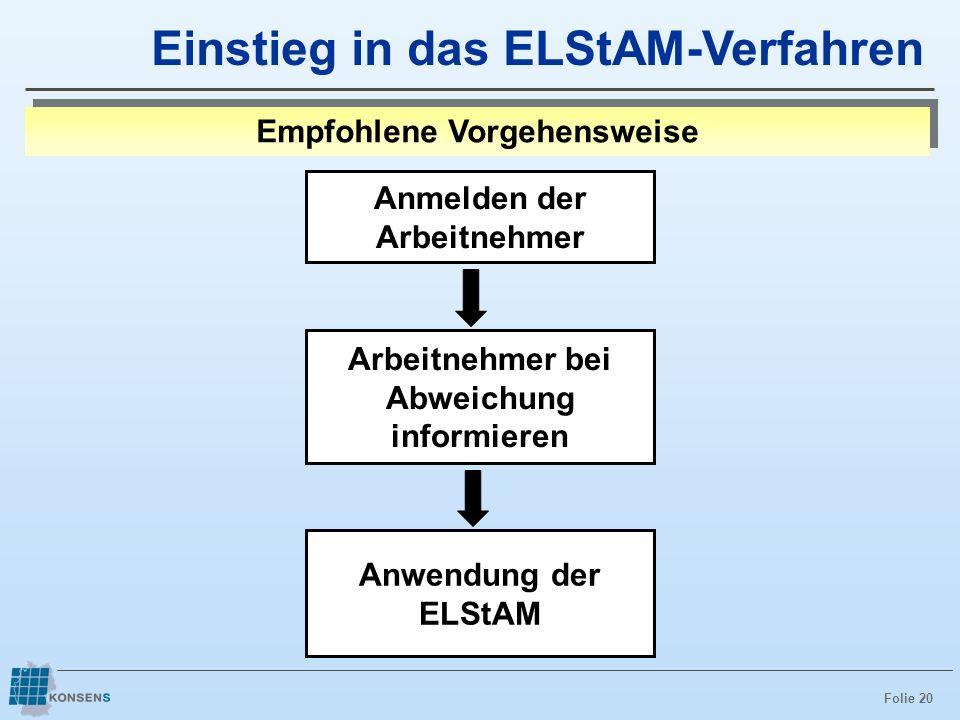 Folie 20 Anwendung der ELStAM Einstieg in das ELStAM-Verfahren Empfohlene Vorgehensweise Anmelden der Arbeitnehmer Arbeitnehmer bei Abweichung informi