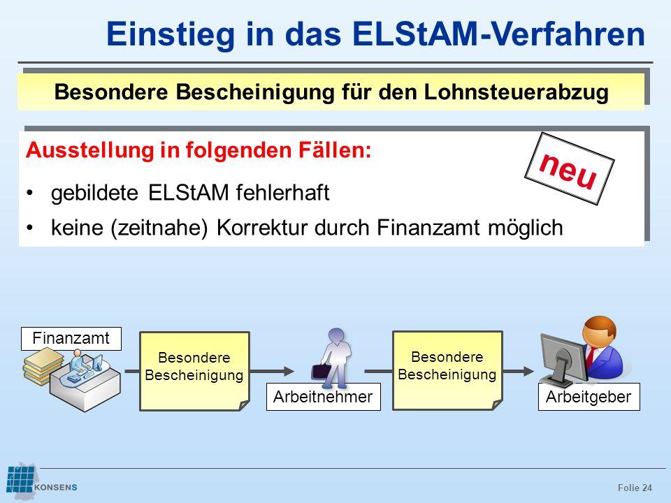 Folie 24 Ausstellung in folgenden Fällen: gebildete ELStAM fehlerhaft keine (zeitnahe) Korrektur durch Finanzamt möglich Ausstellung in folgenden Fäll