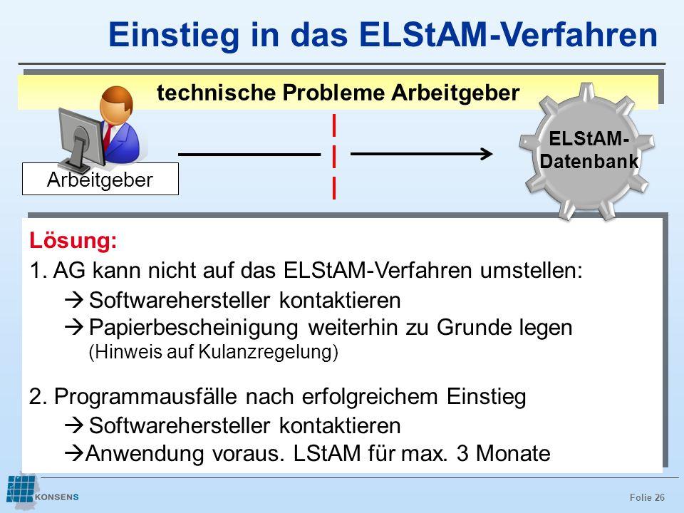 Folie 26 Lösung: 1. AG kann nicht auf das ELStAM-Verfahren umstellen: Softwarehersteller kontaktieren Papierbescheinigung weiterhin zu Grunde legen (H