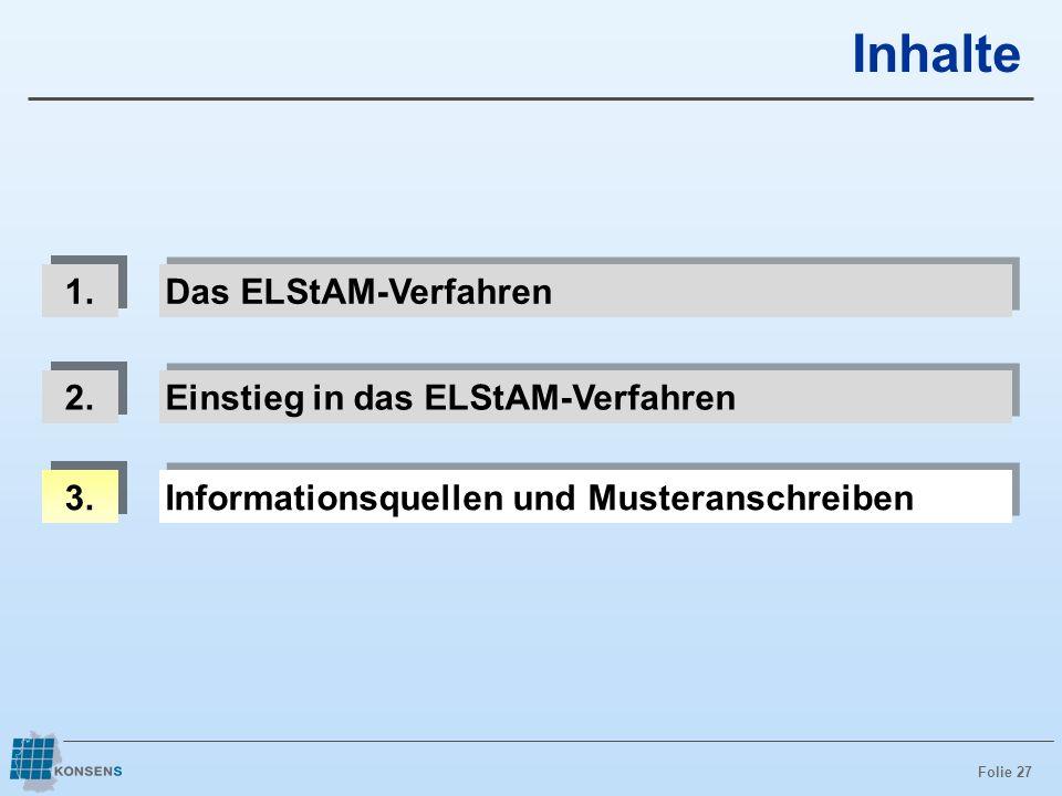 Folie 27 Inhalte 1. Das ELStAM-Verfahren 3. Informationsquellen und Musteranschreiben 2. Einstieg in das ELStAM-Verfahren