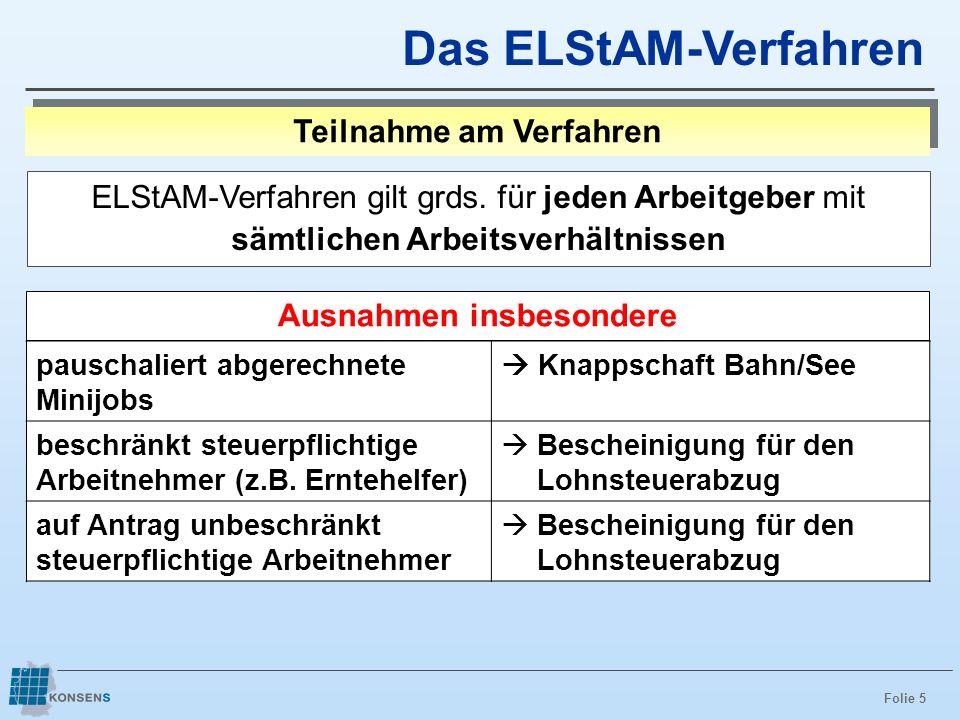 Folie 5 Das ELStAM-Verfahren Teilnahme am Verfahren ELStAM-Verfahren gilt grds. für jeden Arbeitgeber mit sämtlichen Arbeitsverhältnissen Ausnahmen in