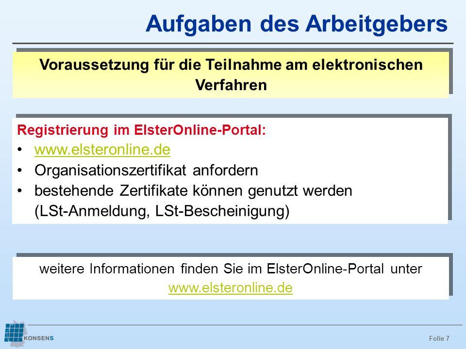 Folie 7 Aufgaben des Arbeitgebers Voraussetzung für die Teilnahme am elektronischen Verfahren Registrierung im ElsterOnline-Portal: www.elsteronline.d