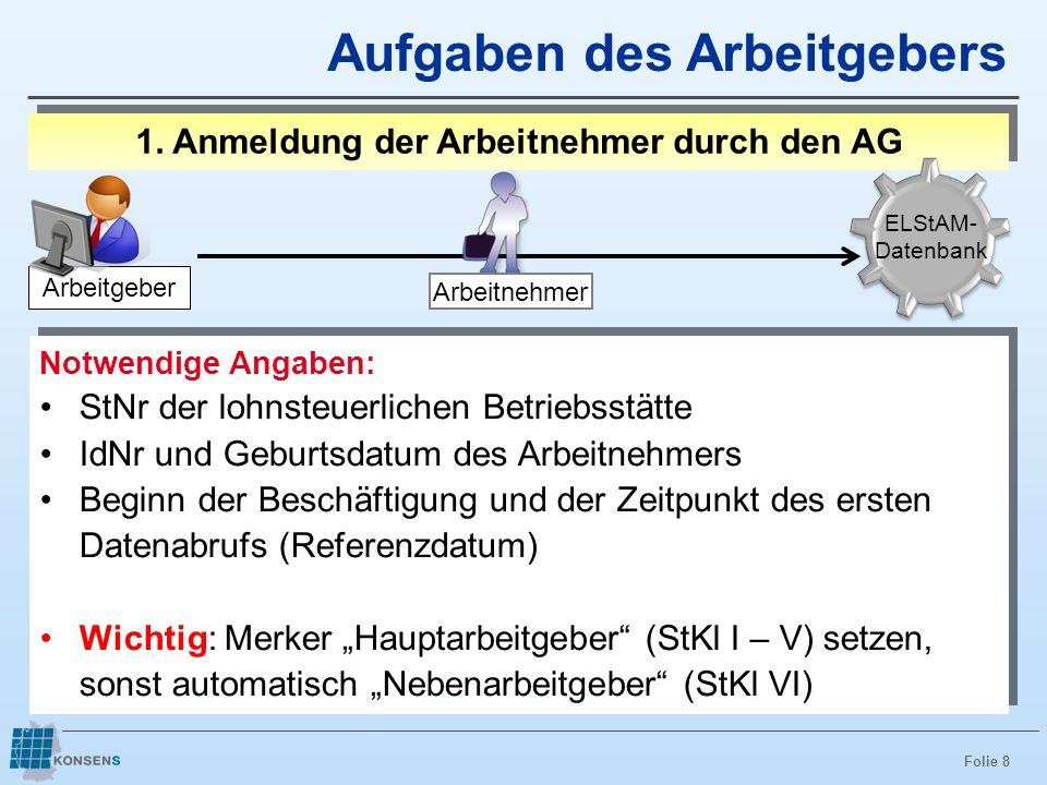 Folie 9 Anmeldung: Fehlerquelle Merker Hauptarbeitgeber 1.Merker Hauptarbeitgeber nicht gesetzt 2.fälschlicher Weise gesetzter Merker Hauptarbeitgeber 3.Wechselfälle (z.B.