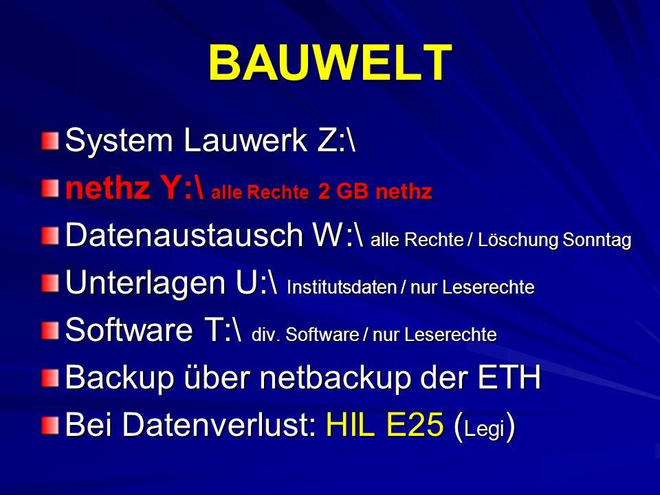 BAUWELT System Lauwerk Z:\ nethz Y:\ alle Rechte 2 GB nethz Datenaustausch W:\ alle Rechte / Löschung Sonntag Unterlagen U:\ Institutsdaten / nur Lese