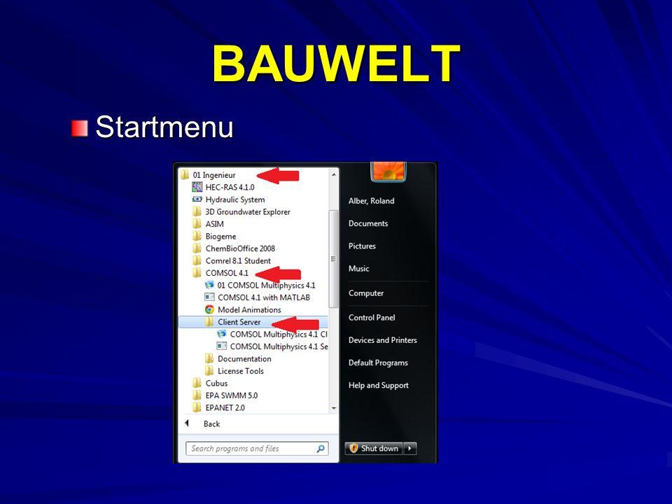 BAUWELT Startmenu