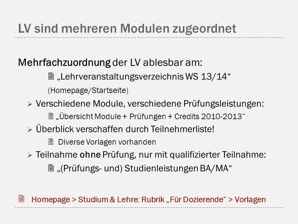 LV sind mehreren Modulen zugeordnet Mehrfachzuordnung der LV ablesbar am: Lehrveranstaltungsverzeichnis WS 13/14 (Homepage/Startseite) Verschiedene Mo