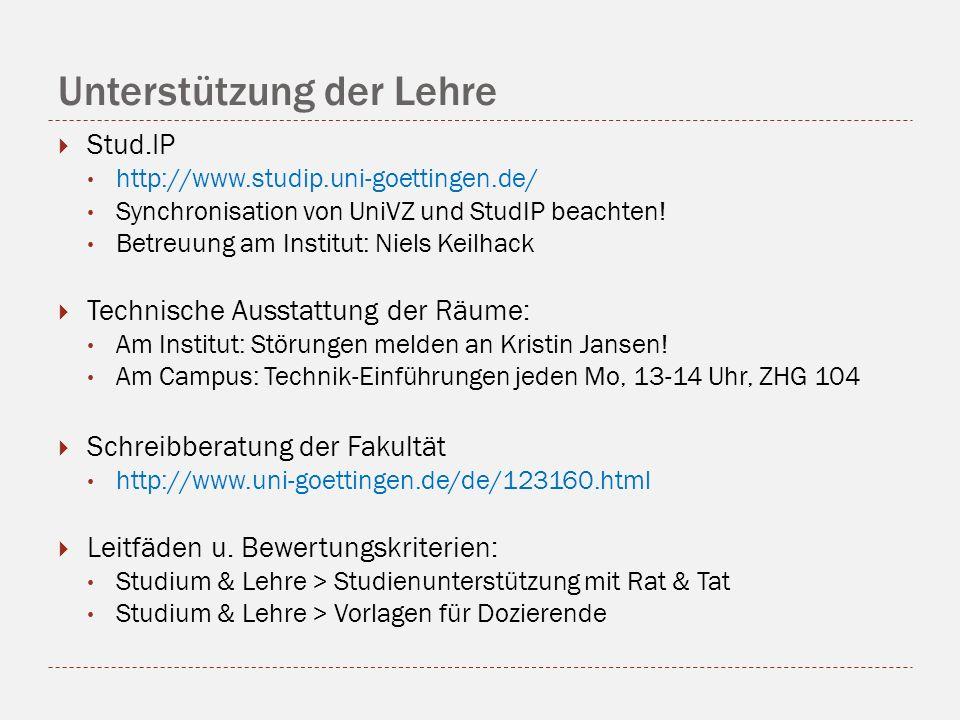 Unterstützung der Lehre Stud.IP http://www.studip.uni-goettingen.de/ Synchronisation von UniVZ und StudIP beachten! Betreuung am Institut: Niels Keilh
