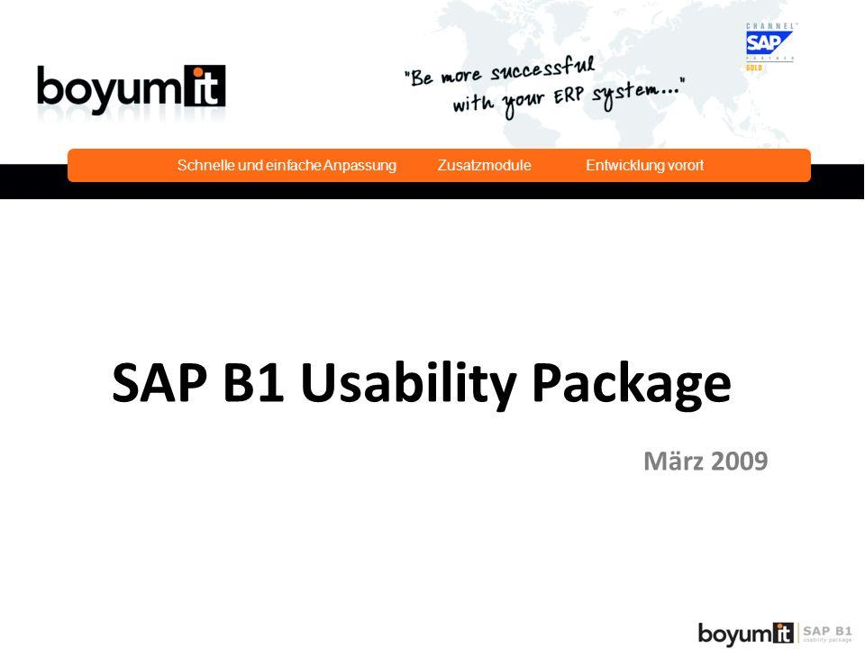 Schnelle und einfache Anpassung Zusatzmodule Entwicklung vorort SAP B1 Usability Package März 2009