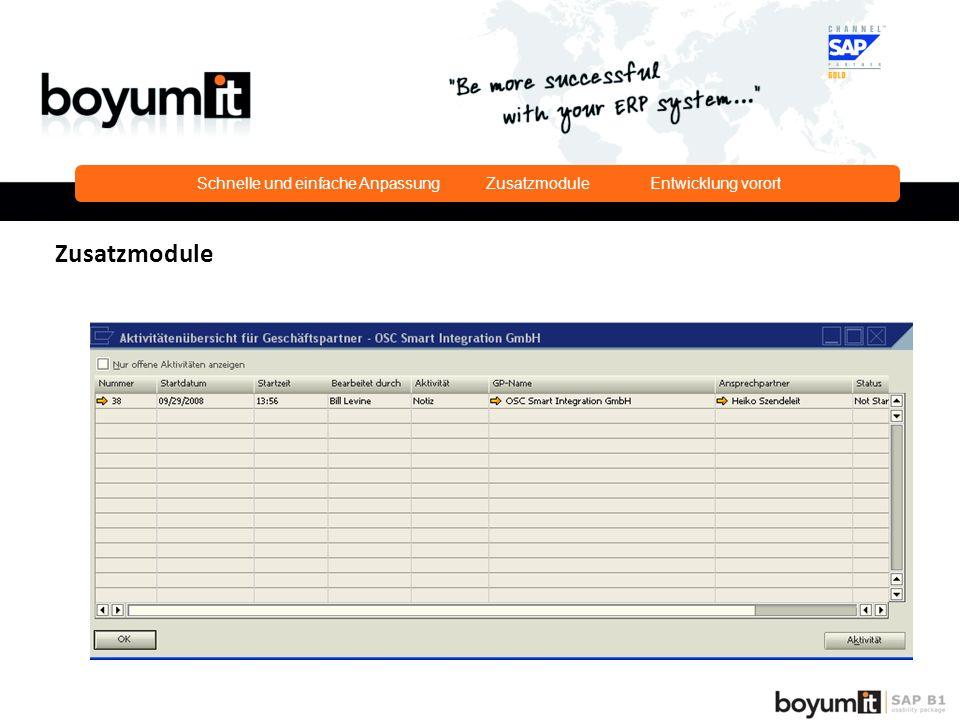 Schnelle und einfache Anpassung Zusatzmodule Entwicklung vorort Zusatzmodule