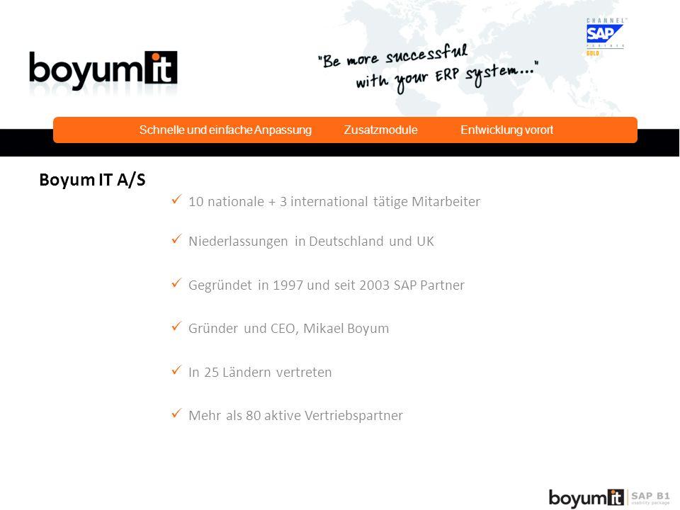 Schnelle und einfache Anpassung Zusatzmodule Entwicklung vorort Boyum IT A/S 10 nationale + 3 international tätige Mitarbeiter Niederlassungen in Deutschland und UK Gegründet in 1997 und seit 2003 SAP Partner Gründer und CEO, Mikael Boyum In 25 Ländern vertreten Mehr als 80 aktive Vertriebspartner