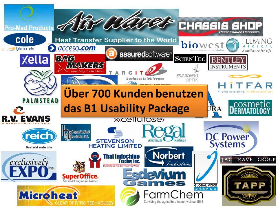 Über 700 Kunden benutzen das B1 Usability Package Über 700 Kunden benutzen das B1 Usability Package