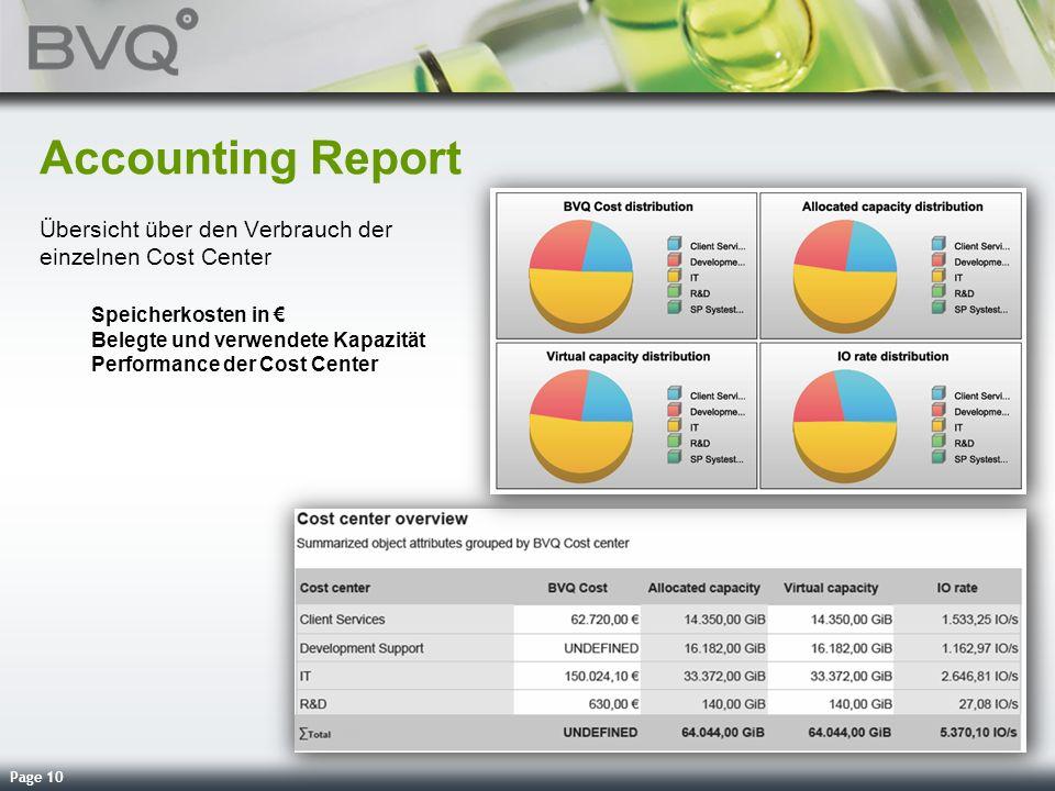 Page 10 Accounting Report Übersicht über den Verbrauch der einzelnen Cost Center Speicherkosten in Belegte und verwendete Kapazität Performance der Co