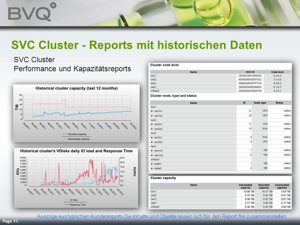 Page 13 SVC Cluster - Reports mit historischen Daten SVC Cluster Performance und Kapazitätsreports Auszüge aus typischen Kundenreports Die Inhalte und