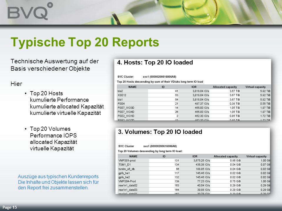 Page 15 Typische Top 20 Reports Technische Auswertung auf der Basis verschiedener Objekte Hier Top 20 Hosts kumulierte Performance kumulierte allocate