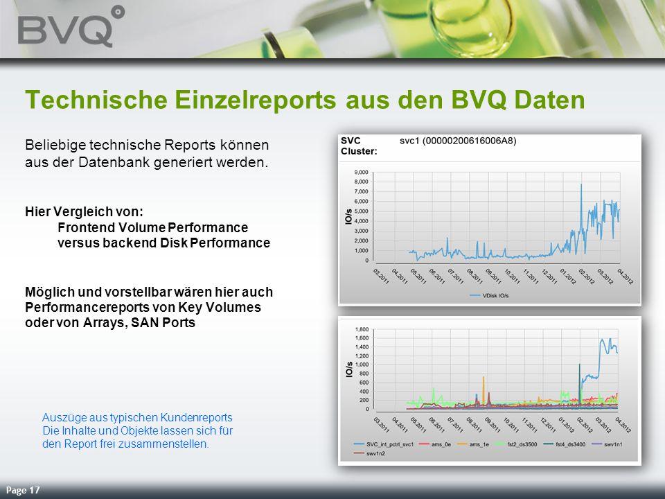 Page 17 Technische Einzelreports aus den BVQ Daten Beliebige technische Reports können aus der Datenbank generiert werden. Hier Vergleich von: Fronten