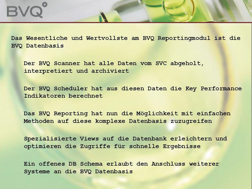 Page 2 Das Wesentliche und Wertvollste am BVQ Reportingmodul ist die BVQ Datenbasis Der BVQ Scanner hat alle Daten vom SVC abgeholt, interpretiert und