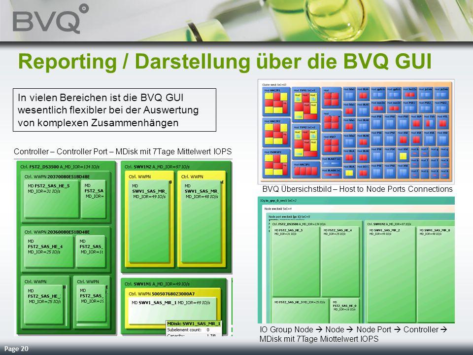 Page 20 Reporting / Darstellung über die BVQ GUI Controller – Controller Port – MDisk mit 7Tage Mittelwert IOPS BVQ Übersichstbild – Host to Node Port