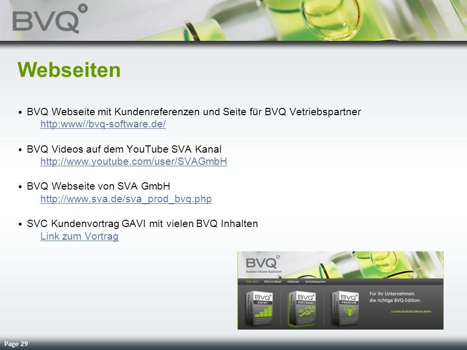 Page 29 Webseiten BVQ Webseite mit Kundenreferenzen und Seite für BVQ Vetriebspartner http:www//bvq-software.de/ http:www//bvq-software.de/ BVQ Videos