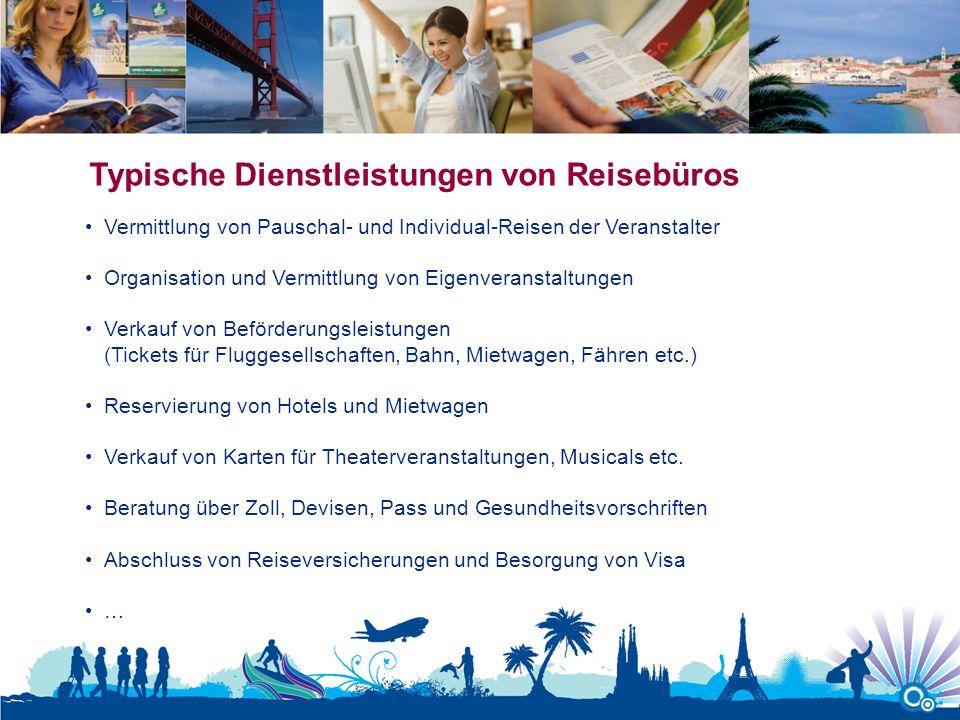 Typische Dienstleistungen von Reisebüros Vermittlung von Pauschal- und Individual-Reisen der Veranstalter Organisation und Vermittlung von Eigenverans