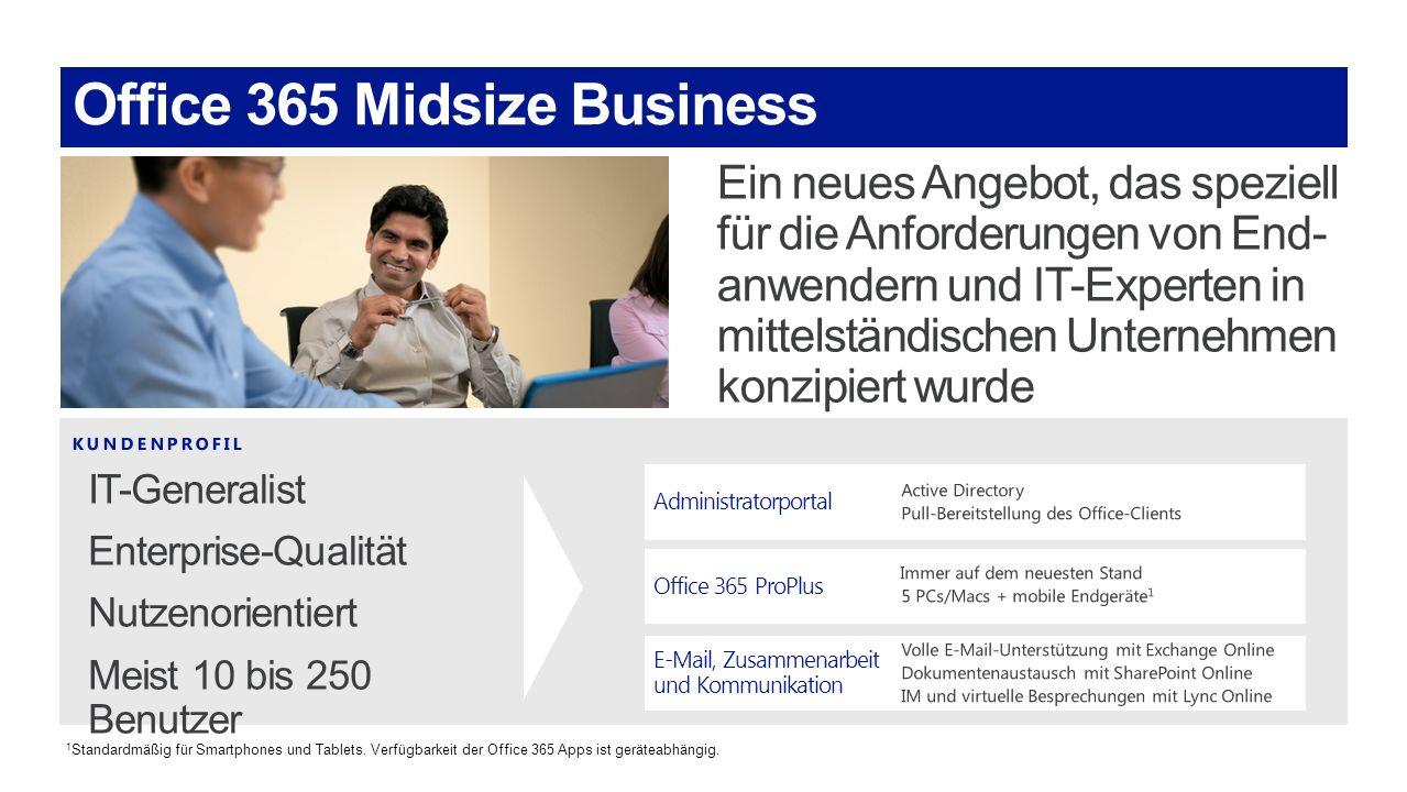 Administratorportal Office 365 ProPlus E-Mail, Zusammenarbeit und Kommunikation 1 Standardmäßig für Smartphones und Tablets. Verfügbarkeit der Office