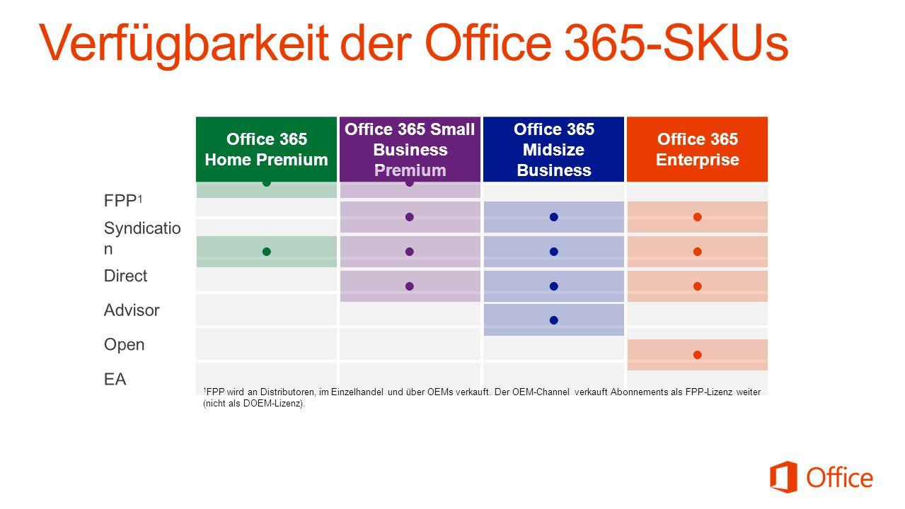 Office 365 Home Premium Office 365 Small Business Premium Office 365 Midsize Business Office 365 Enterprise 1 FPP wird an Distributoren, im Einzelhand