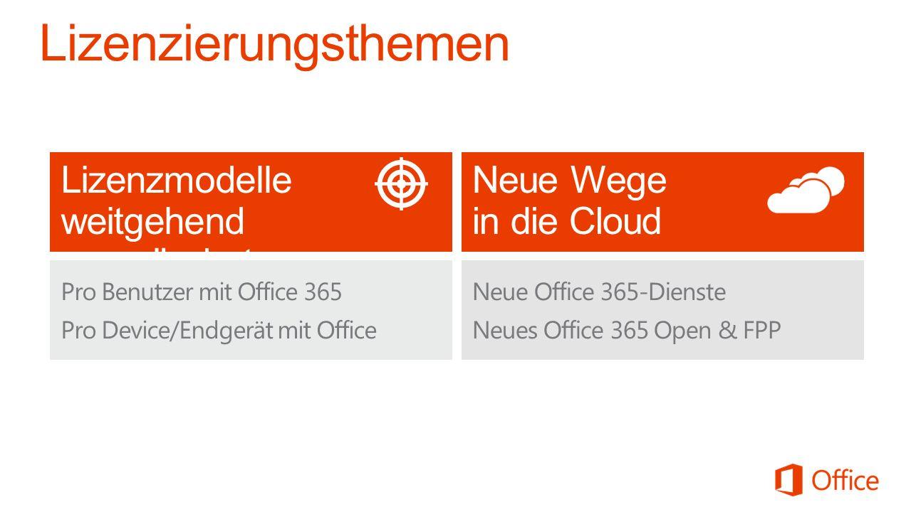 Neue Wege in die Cloud Lizenzmodelle weitgehend unverändert Pro Benutzer mit Office 365 Pro Device/Endgerät mit Office Neue Office 365-Dienste Neues O