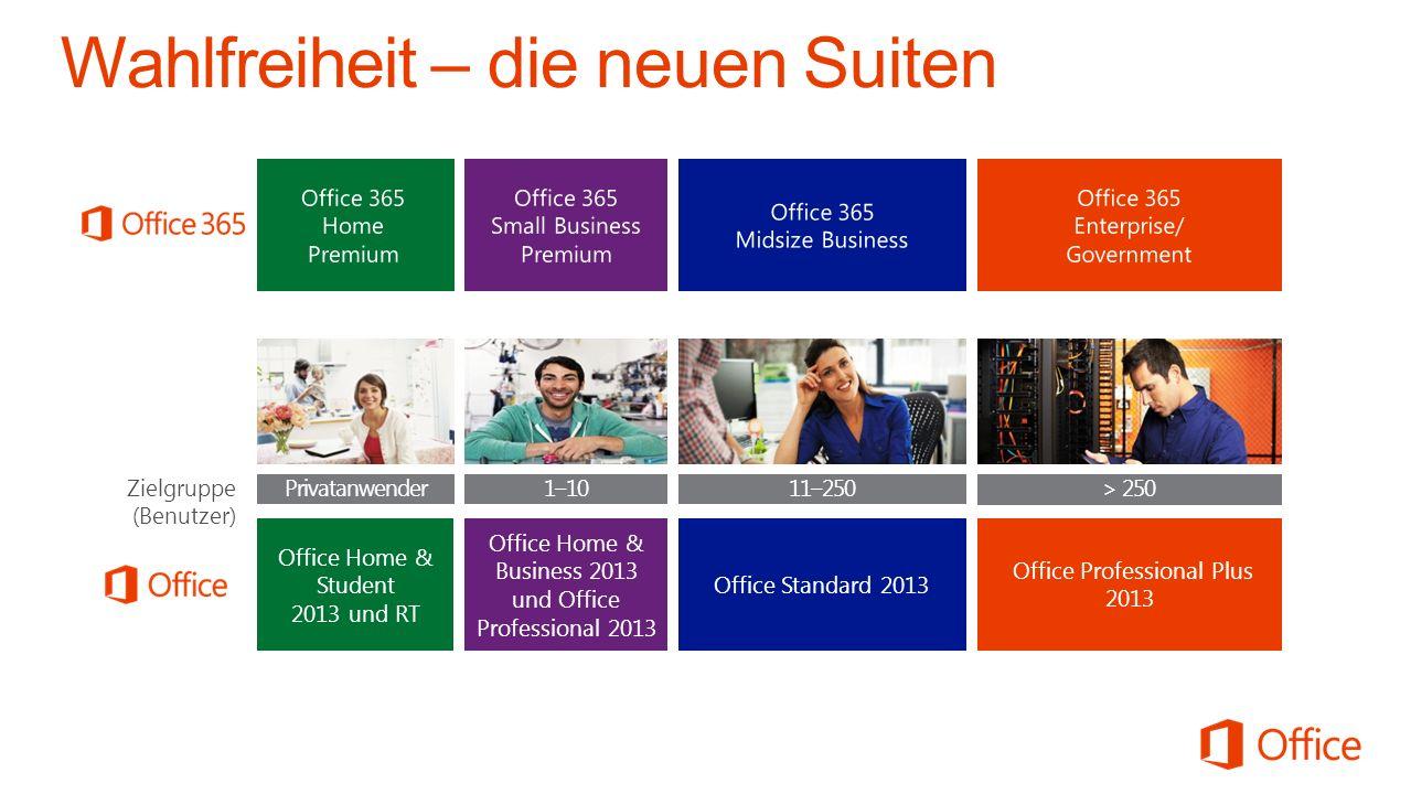 tbd. Zielgruppe (Benutzer) 1–10 > 250 11–250 Privatanwender VerbraucherdiensteKommerzielle Dienste Kosten pro Monat Office Home & Business 2013 und Of