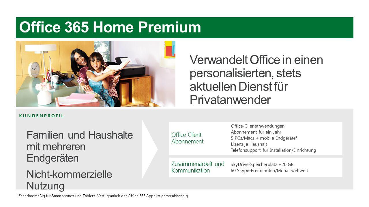 KUNDENPROFIL Office-Client- Abonnement Zusammenarbeit und Kommunikation 1 Standardmäßig für Smartphones und Tablets. Verfügbarkeit der Office 365 Apps