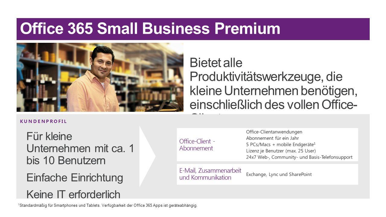 KUNDENPROFIL Office-Client - Abonnement E-Mail, Zusammenarbeit und Kommunikation 1 Standardmäßig für Smartphones und Tablets. Verfügbarkeit der Office