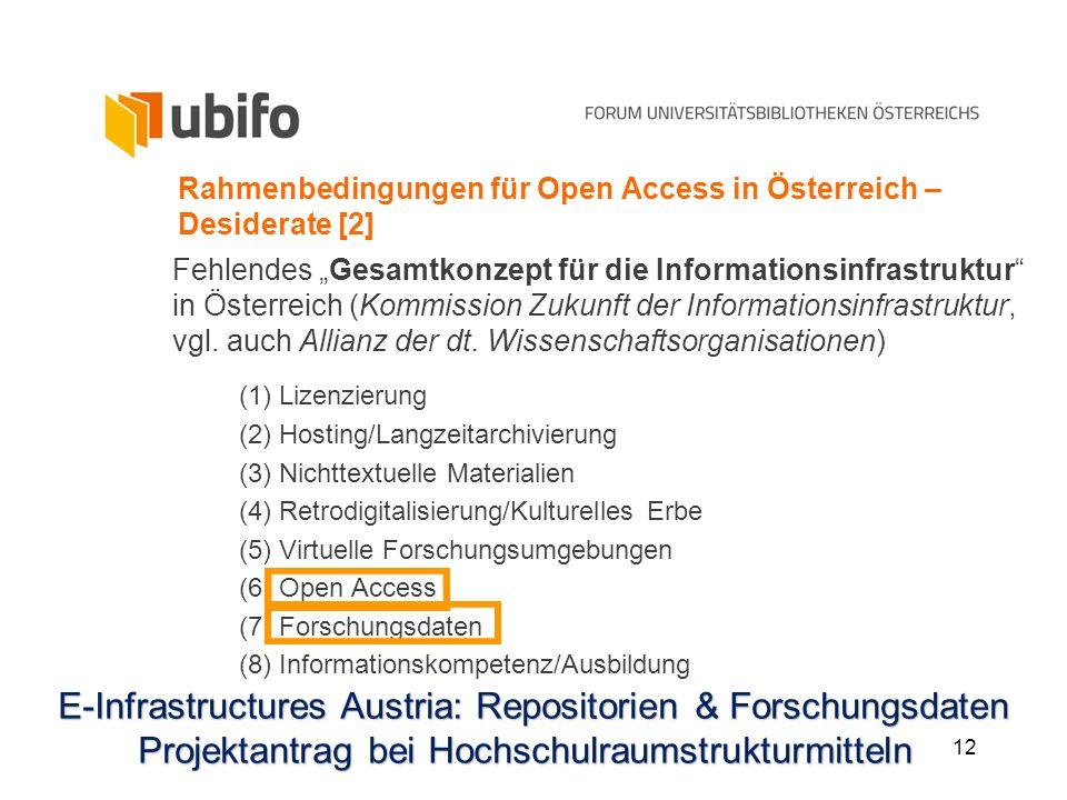 12 Rahmenbedingungen für Open Access in Österreich – Desiderate [2] Fehlendes Gesamtkonzept für die Informationsinfrastruktur in Österreich (Kommissio