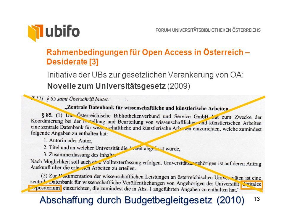 13 Rahmenbedingungen für Open Access in Österreich – Desiderate [3] Initiative der UBs zur gesetzlichen Verankerung von OA: Novelle zum Universitätsge