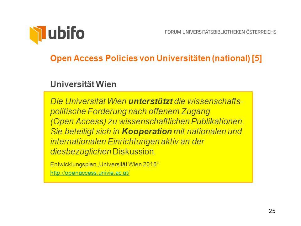 25 Open Access Policies von Universitäten (national) [5] Universität Wien Die Universität Wien unterstützt die wissenschafts- politische Forderung nac
