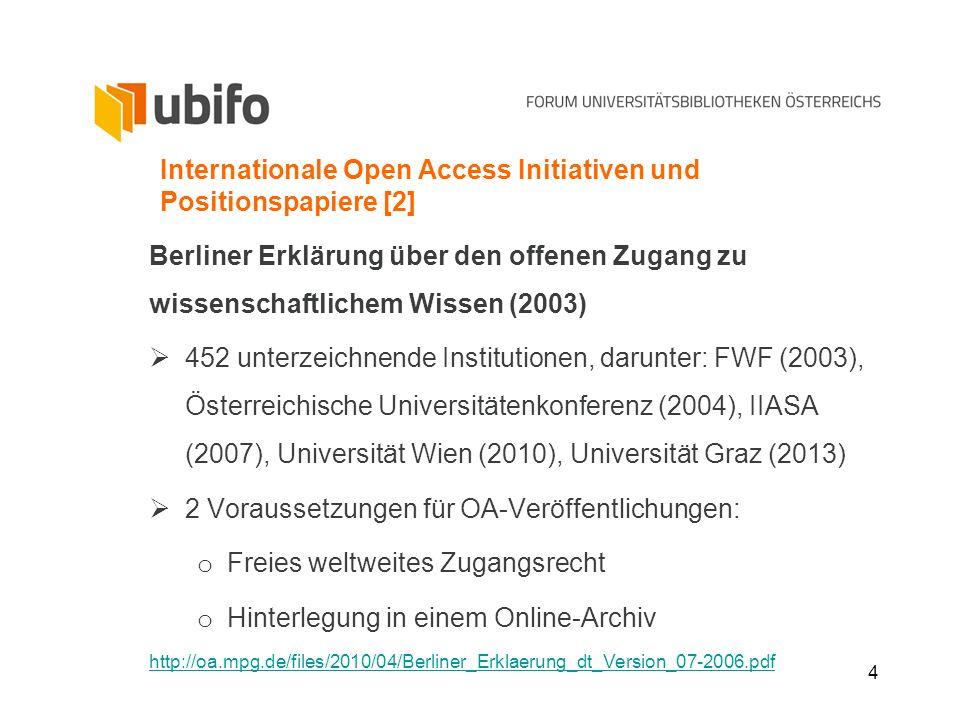 4 Internationale Open Access Initiativen und Positionspapiere [2] Berliner Erklärung über den offenen Zugang zu wissenschaftlichem Wissen (2003) 452 u