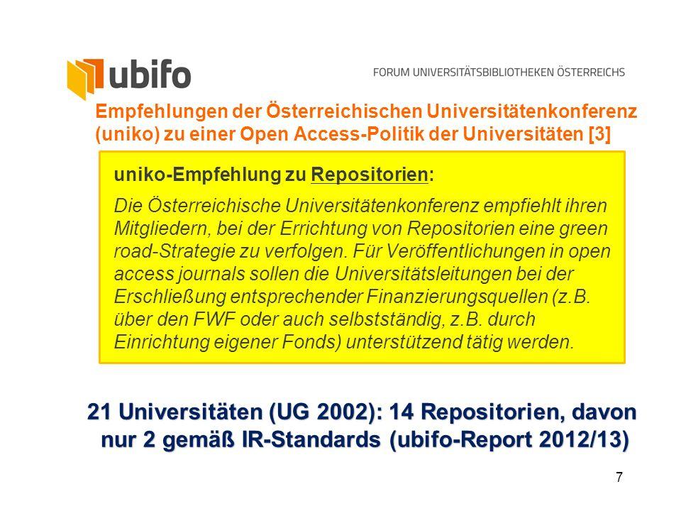7 Empfehlungen der Österreichischen Universitätenkonferenz (uniko) zu einer Open Access-Politik der Universitäten [3] uniko-Empfehlung zu Repositorien