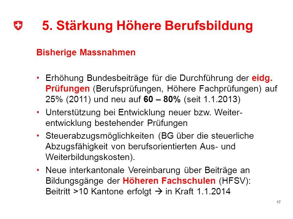 17 Bisherige Massnahmen Erhöhung Bundesbeiträge für die Durchführung der eidg. Prüfungen (Berufsprüfungen, Höhere Fachprüfungen) auf 25% (2011) und ne