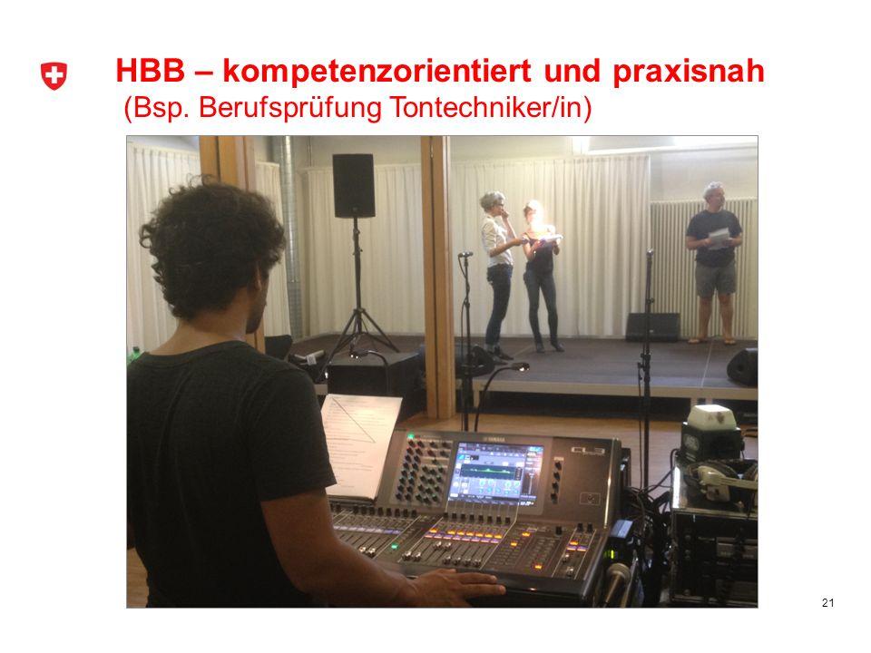 21 HBB – kompetenzorientiert und praxisnah (Bsp. Berufsprüfung Tontechniker/in)