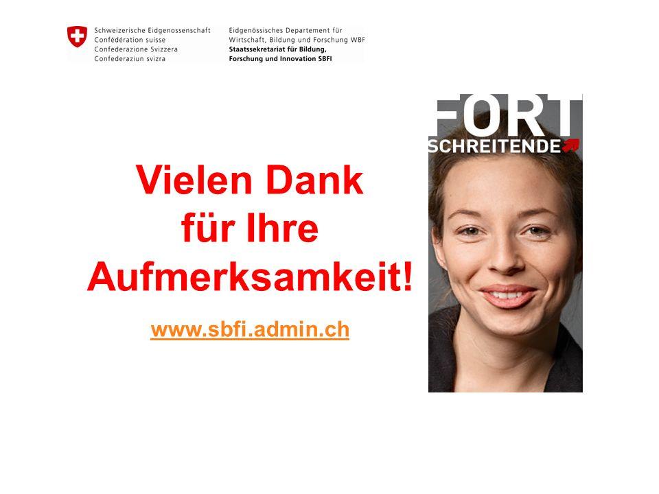 Vielen Dank für Ihre Aufmerksamkeit! www.sbfi.admin.ch www.sbfi.admin.ch