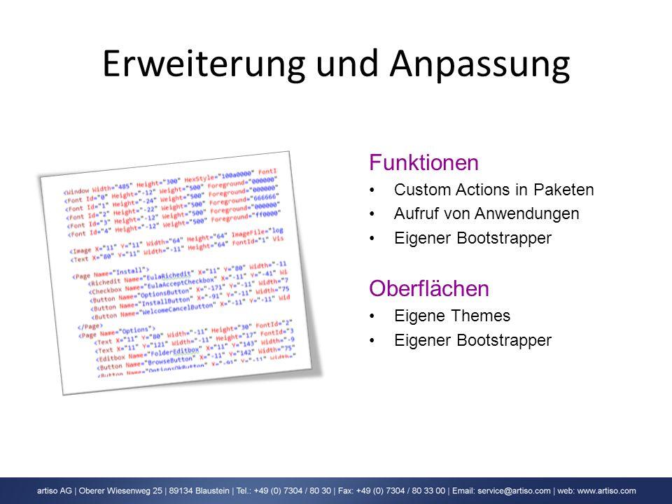 Erweiterung und Anpassung Funktionen Custom Actions in Paketen Aufruf von Anwendungen Eigener Bootstrapper Oberflächen Eigene Themes Eigener Bootstrap