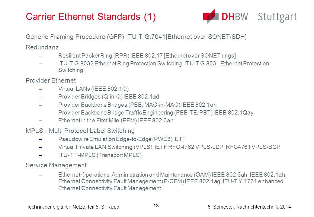 6. Semester, Nachrichtentechnik, 2014Technik der digitalen Netze, Teil 5, S. Rupp 13 Carrier Ethernet Standards (1) Generic Framing Procedure (GFP) IT