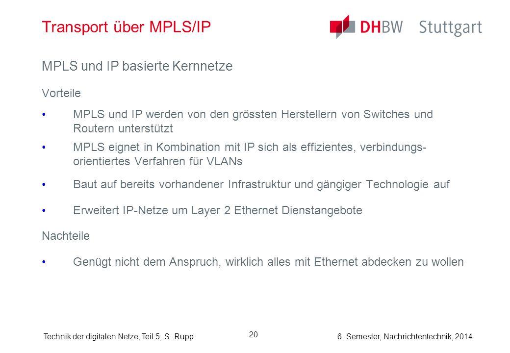 6. Semester, Nachrichtentechnik, 2014Technik der digitalen Netze, Teil 5, S. Rupp 20 Transport über MPLS/IP MPLS und IP basierte Kernnetze Vorteile MP