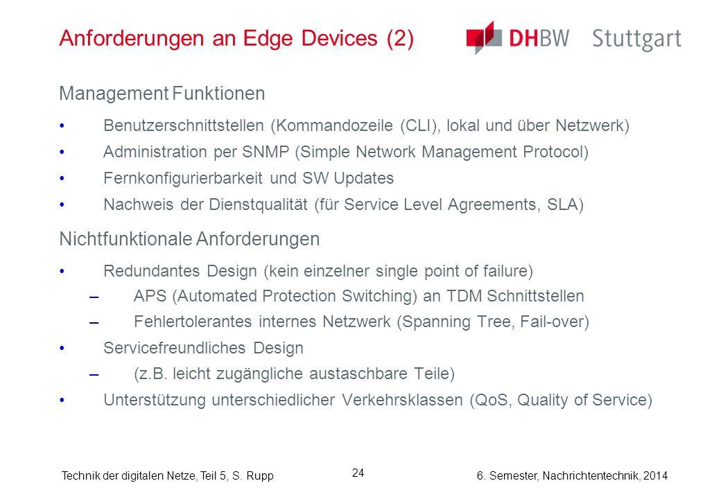 6. Semester, Nachrichtentechnik, 2014Technik der digitalen Netze, Teil 5, S. Rupp 24 Anforderungen an Edge Devices (2) Management Funktionen Benutzers