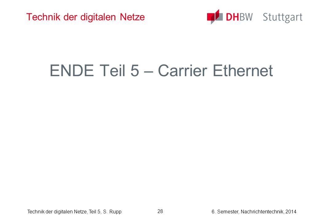 6. Semester, Nachrichtentechnik, 2014Technik der digitalen Netze, Teil 5, S. Rupp 28 Technik der digitalen Netze ENDE Teil 5 – Carrier Ethernet