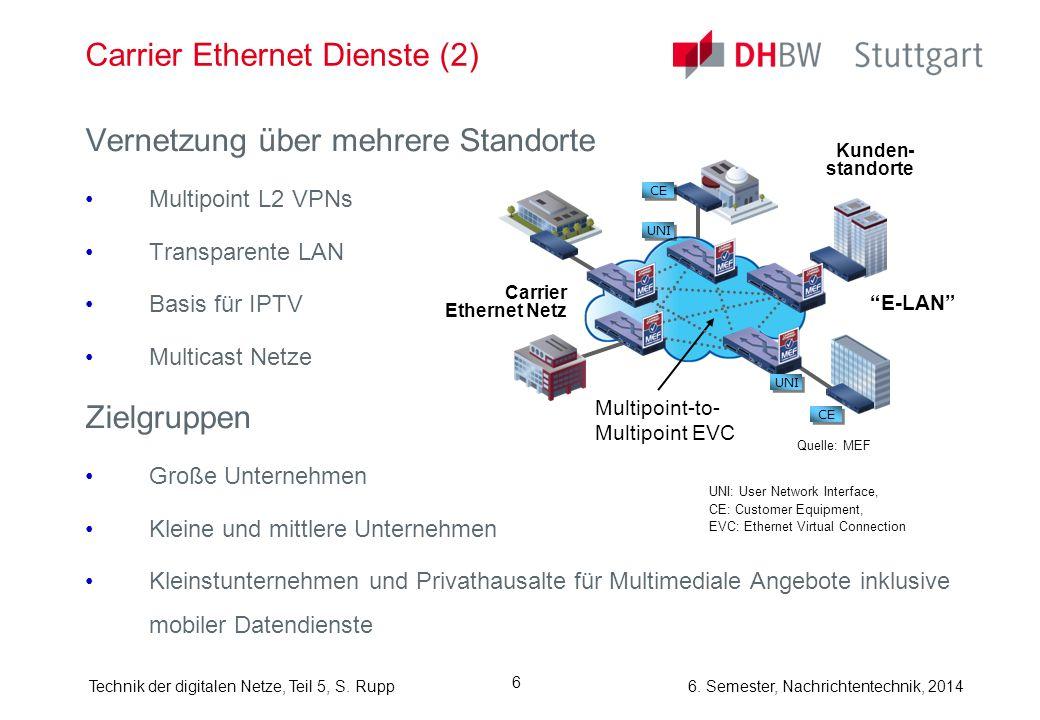 6. Semester, Nachrichtentechnik, 2014Technik der digitalen Netze, Teil 5, S. Rupp 6 Carrier Ethernet Dienste (2) Vernetzung über mehrere Standorte Mul