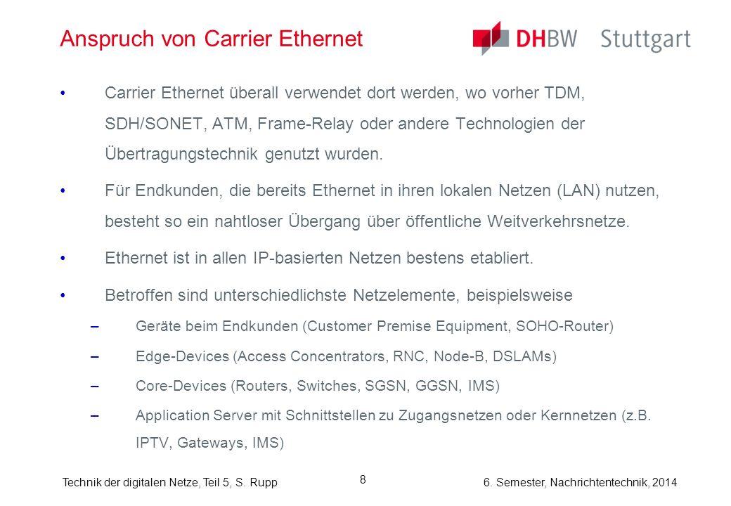 6. Semester, Nachrichtentechnik, 2014Technik der digitalen Netze, Teil 5, S. Rupp 8 Anspruch von Carrier Ethernet Carrier Ethernet überall verwendet d