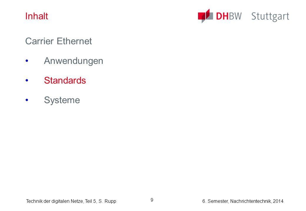 6. Semester, Nachrichtentechnik, 2014Technik der digitalen Netze, Teil 5, S. Rupp 9 Inhalt Carrier Ethernet Anwendungen Standards Systeme